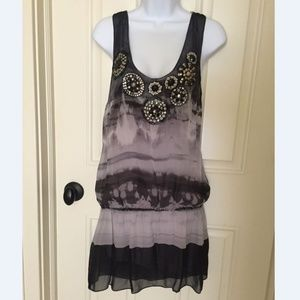 Women's Sheer Tank Mini Dress with Shell